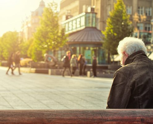 elderly man on bench, lonely, dementia
